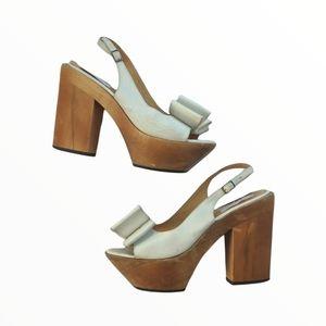 Lanvin Wood Heel Bow Slingback Platform Sandals